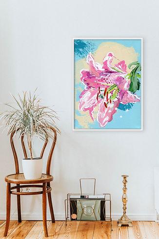 Lelie FreeStyle schilderij in interieur