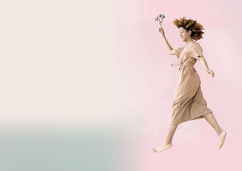 visual springende dame Pretty Pastel f m