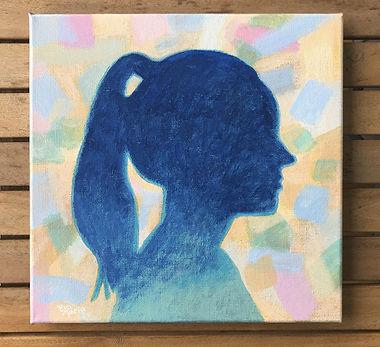 Silhouet portret Duurzame kunst met handgemaakte natuurlijke verf