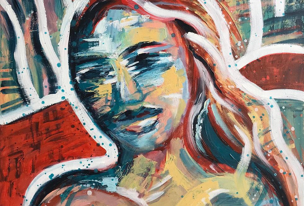 Schilderij Maria door Eva van den Hamsvoort