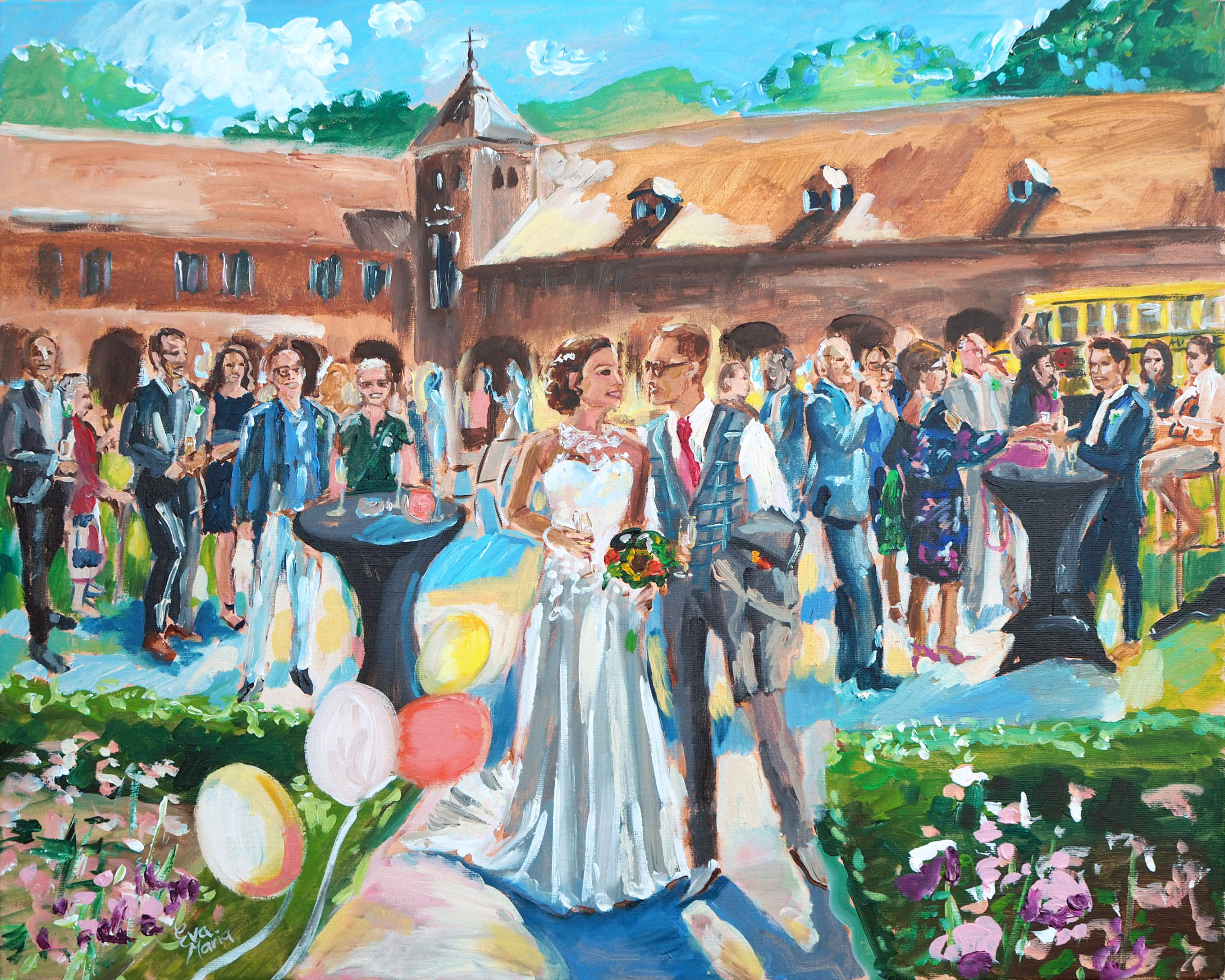 Live Paint Eva Maria kunstwerk huwelijksborrel Ossendrecht