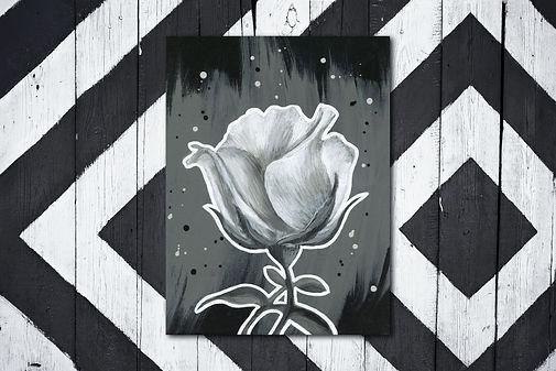 Schilderij van een roos in zwart wit. Geef een bloemetje cadeau met ArtaFlora