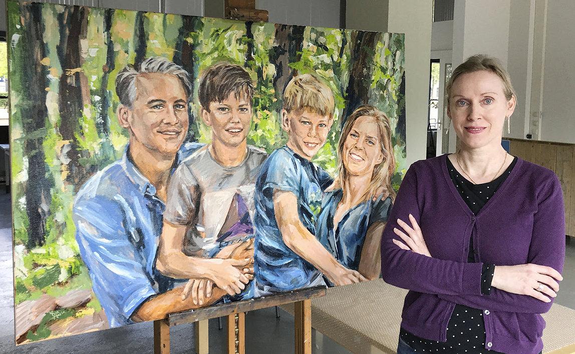 Familieportret in opdracht gezinsportret origineel geschenk