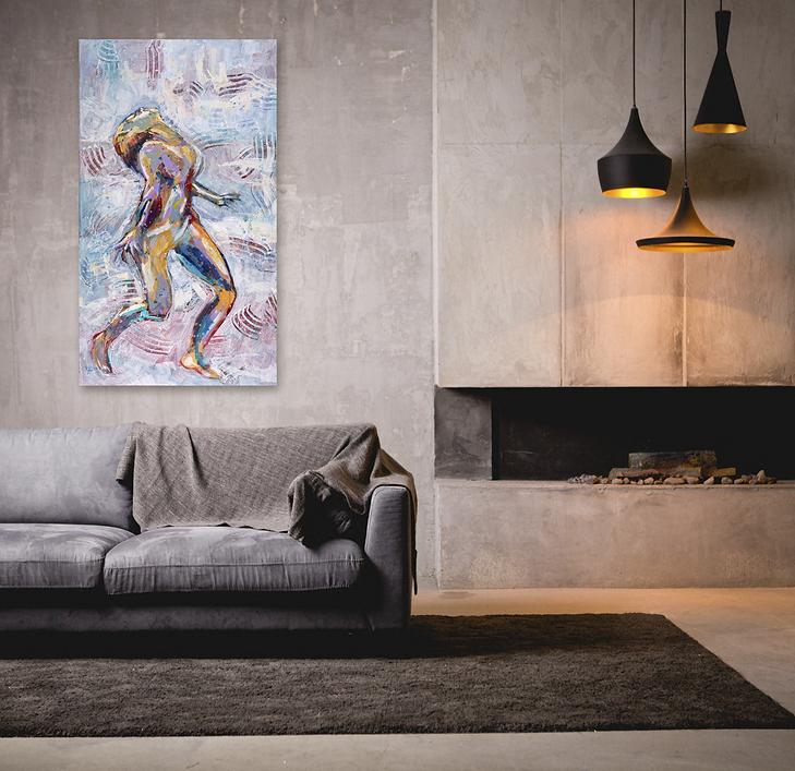 Bathing in energy schilderij van danser in interieur