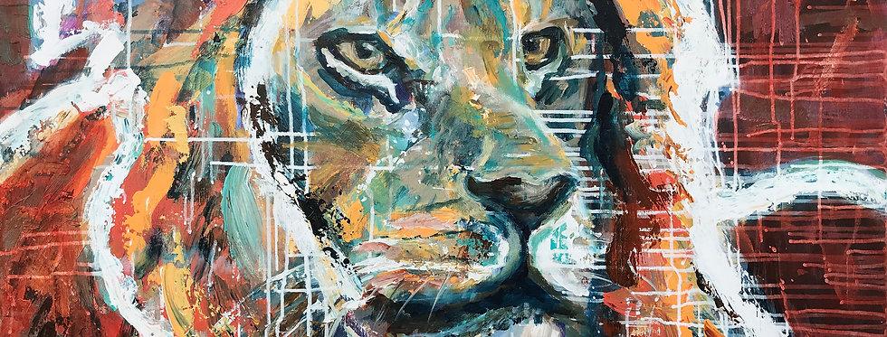 Schilderij Love the Lion door Eva van den Hamsvoort
