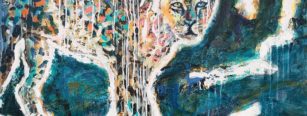 Schilderij Look a Leopard door Eva van den Hamsvoort