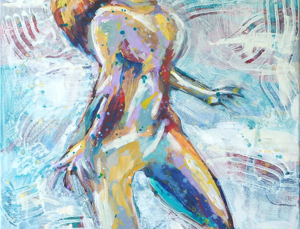 Schilderij Bathing in energy door Eva van den Hamsvoort
