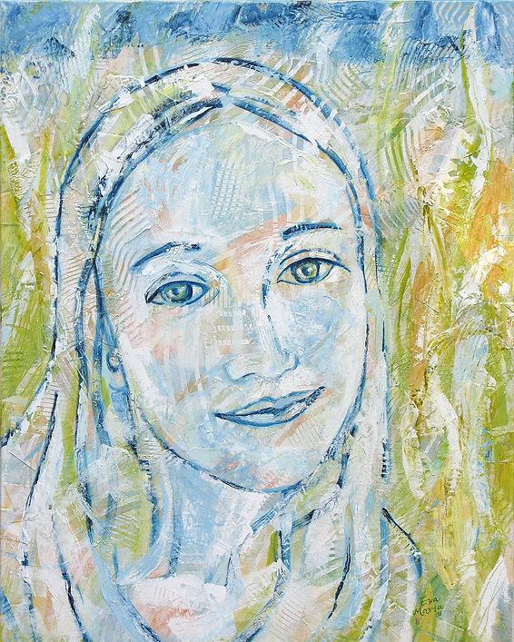 Portet in opdracht   schilderij van een meisje   portret in opdracht   ART Eva Maria