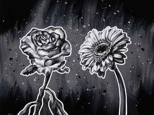 ArtaFlora schilderij van een roos en een gerbera in zwart wit tinten