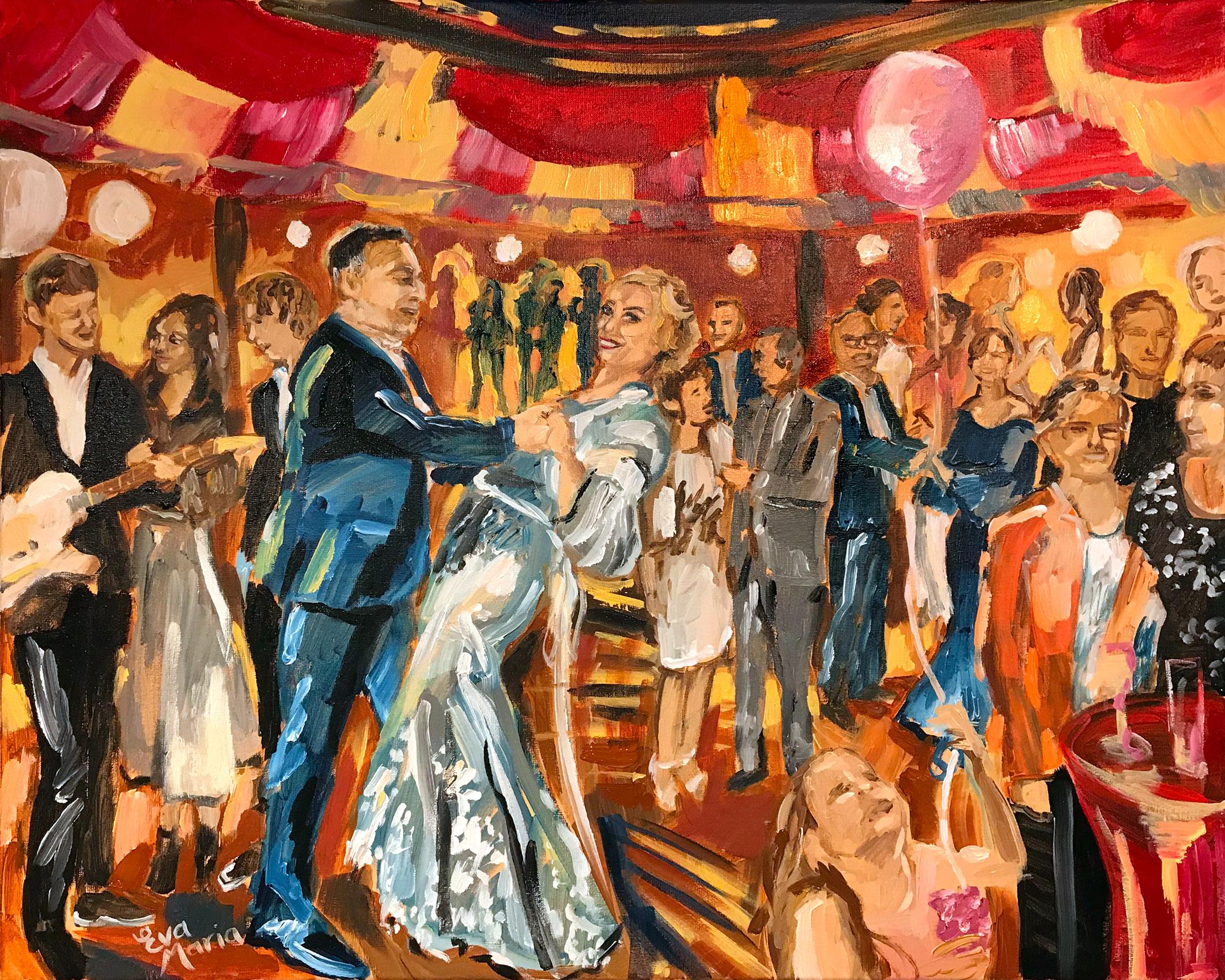Live Paint Eva Maria schilderij huwelijksfeest Gouda
