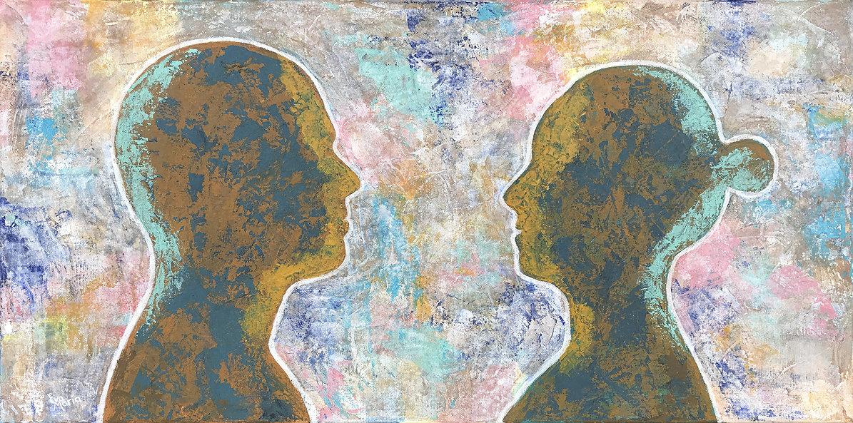 Duurzame kunst een serieuze trend in de schilderkunst, silhouet portret
