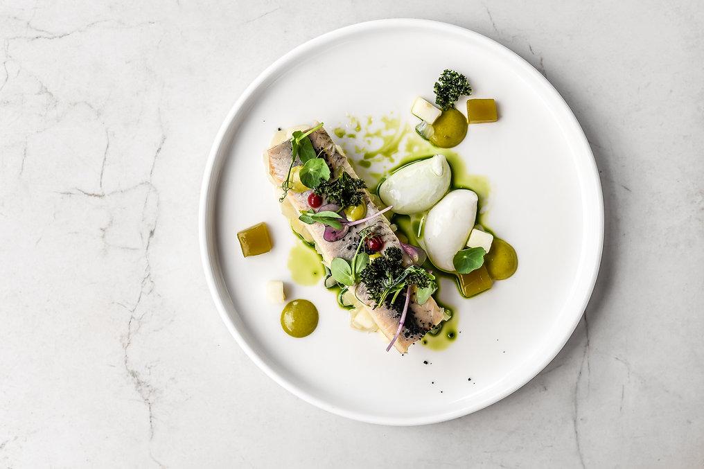 food fish elegant gourmet black plate to