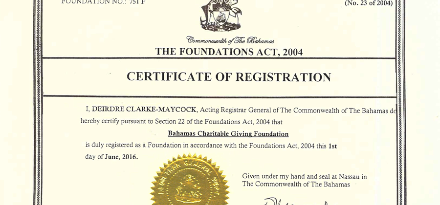 BCGF - Certificate of Registration