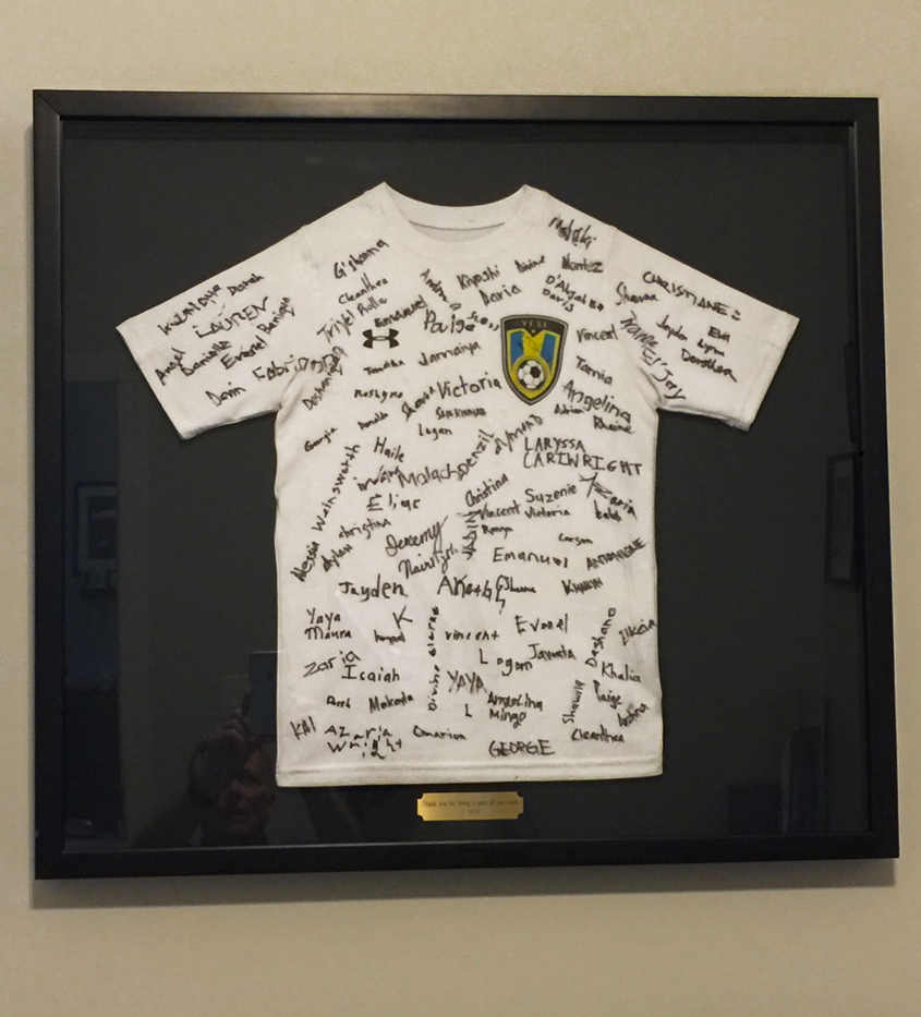 """""""Thank you"""" jersey plaque to BCGF from YESI."""