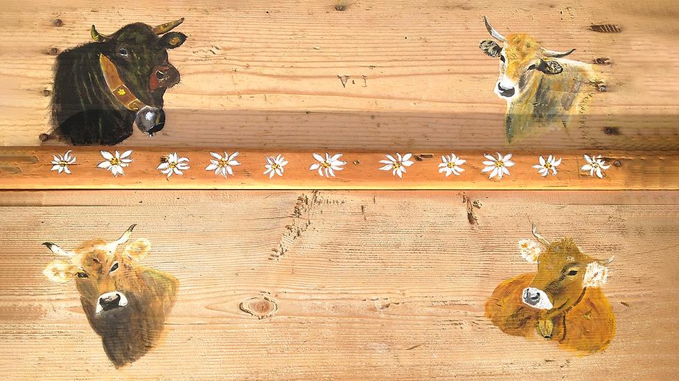 Vaches peinture sur bois traditionnelle Suisse - Peinture âme suisse