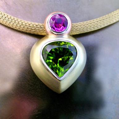 Peridot & Pink Sapphire Slide