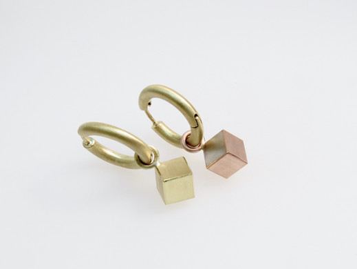 'Cube' Charms with 'Solid Hoop' Earrings