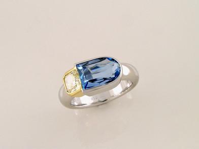 Aquamarine Yellow Diamond 'Cube' Ring