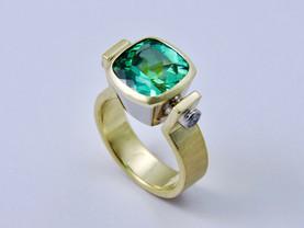 Tourmaline 'Chalice' Ring with Diamonds
