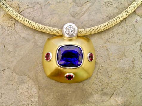 Tanzanite, Ruby, and Diamond Pendant