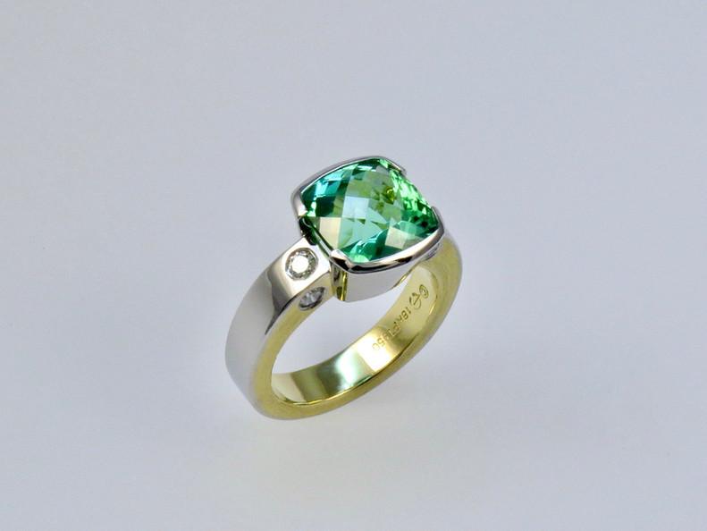 Blue Green Tourmaline 'Evolution' Ring