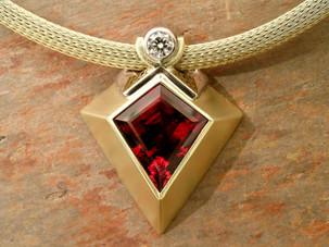 Red Tourmaline and Diamond 'Kite' Pendant