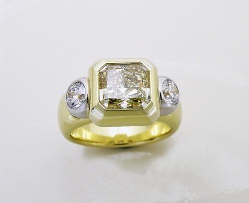 Yellow Diamond 'Cushion Trio' Ring