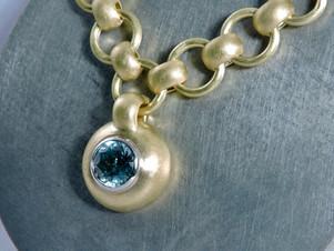 Blue Zircon 'Pebble Bead' Pendant