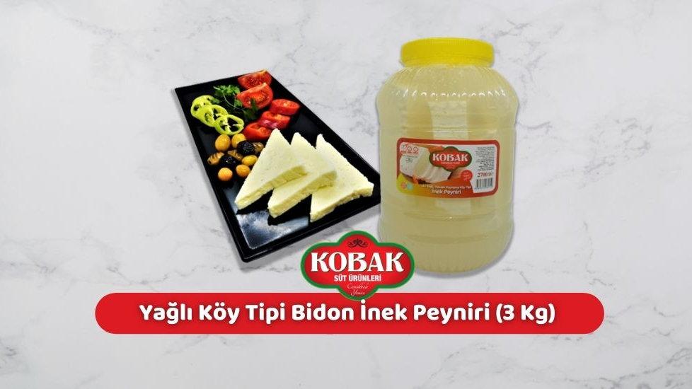 Kobak Az Yağlı Köy Tipi Bidon İnek Peyniri (3 Kg)