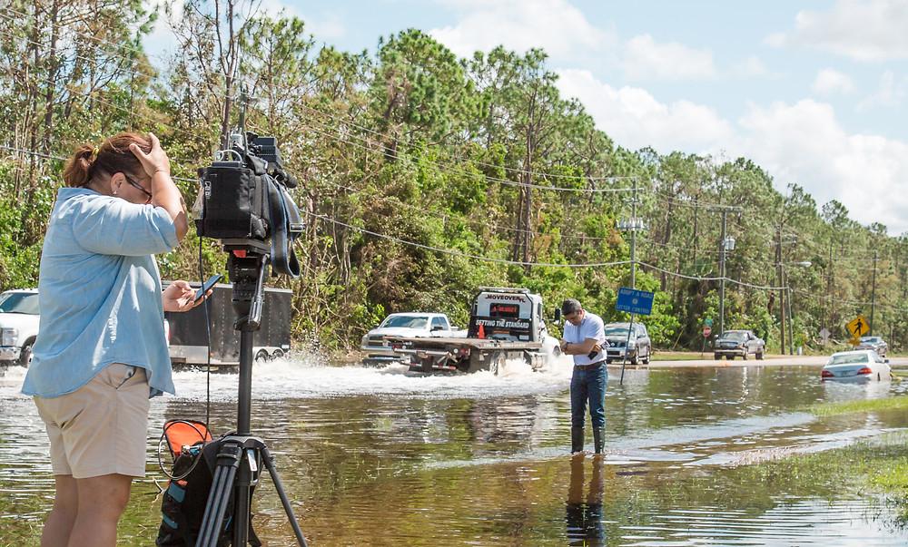 News crews after Hurricane Irma