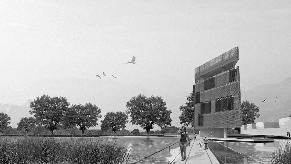 L'ACQUA: A memorial building on a campus dedicated to the study of water
