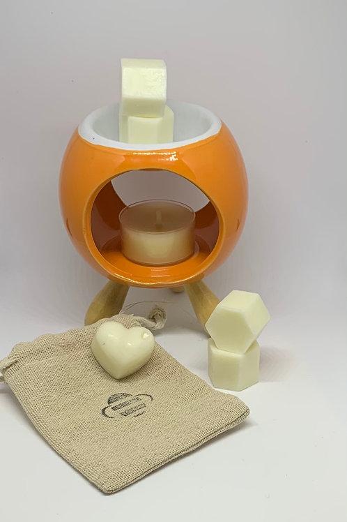 bee Calm Burner Gift Box + Melts (Orange)