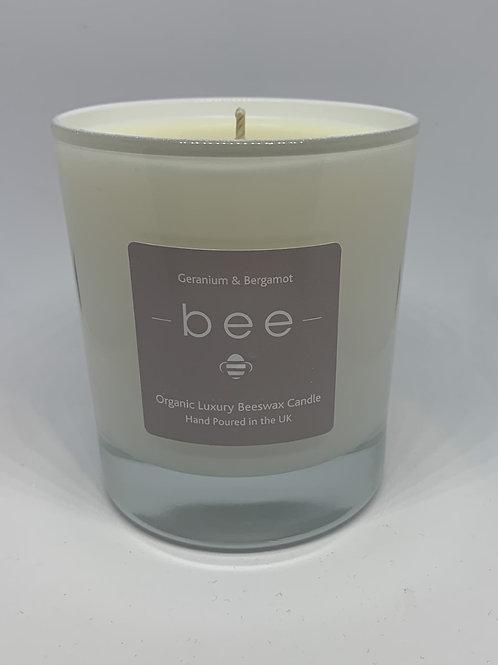 Large Geranium & Bergamot bee Candle