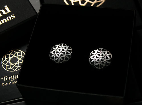 Damascene handmade plugs with silver / Flower of life complete