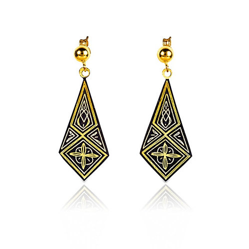 Damascene handmade earrings made with 24 kt. pure gold / s6