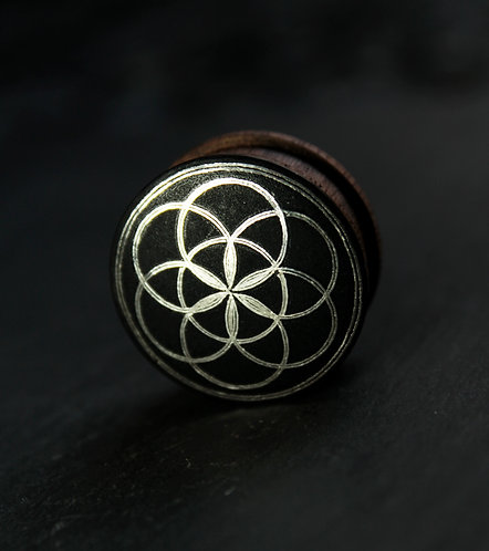 Damascene handmade plugs with silver / Seed of life