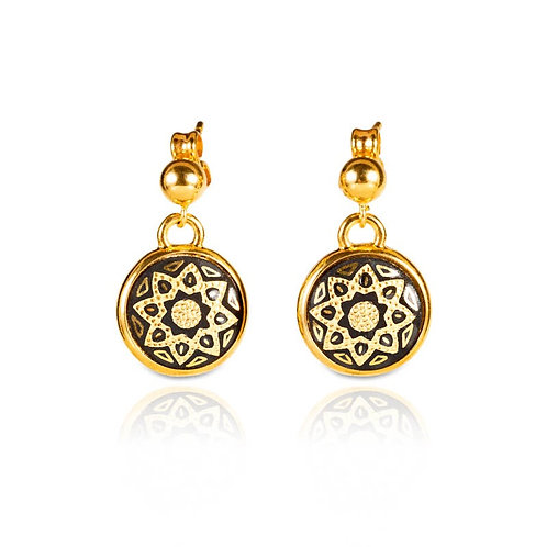 Damascene handmade earrings made with 24 kt. pure gold / s12
