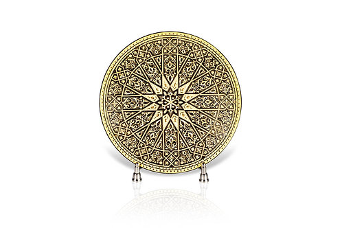 Damascene handmade decorative plate made with 24 kt. pure gold / m2