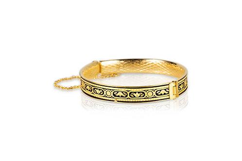 Damascene handmade bracelet made with 24 kt. pure gold / flower