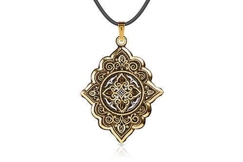 Damascene handmade pendant made with 24 kt. pure gold and silver C 12
