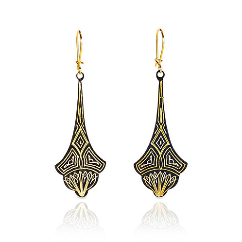 Damascene handmade earrings made with 24 kt. pure gold and silver / s3