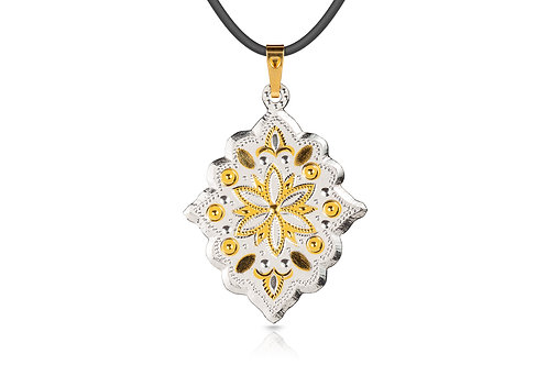 Damascene handmade pendant made with 24 kt. pure gold and silver / c19