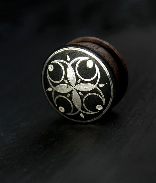 Damascene handmade plugs with silver /Four Moons
