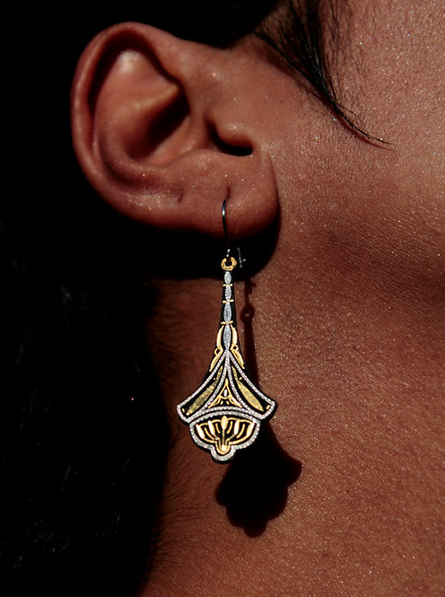 Damascene handmade earrings made with 24 kt. pure gold and silver 1