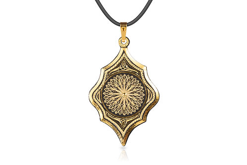 Damascene handmade pendant made with 24 kt. pure gold C 9