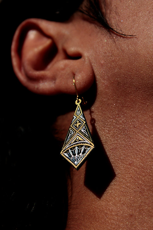 Damascene handmade earrings made with 24 kt. pure gold and silver 2