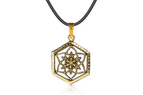 Damascene handmade pendant made with 24 kt. of pure gold C 7