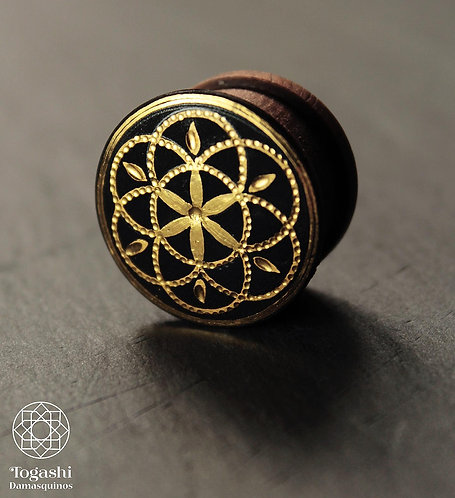 Damascene handmade plugs with pure gold / Seed of life