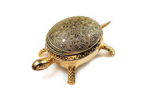 Damascene handmade decorative turtle made with 24 kt. pure gold / m2