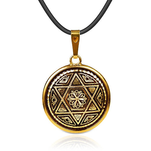 Damascene handmade pendant made with 24 kt. pure gold / m1